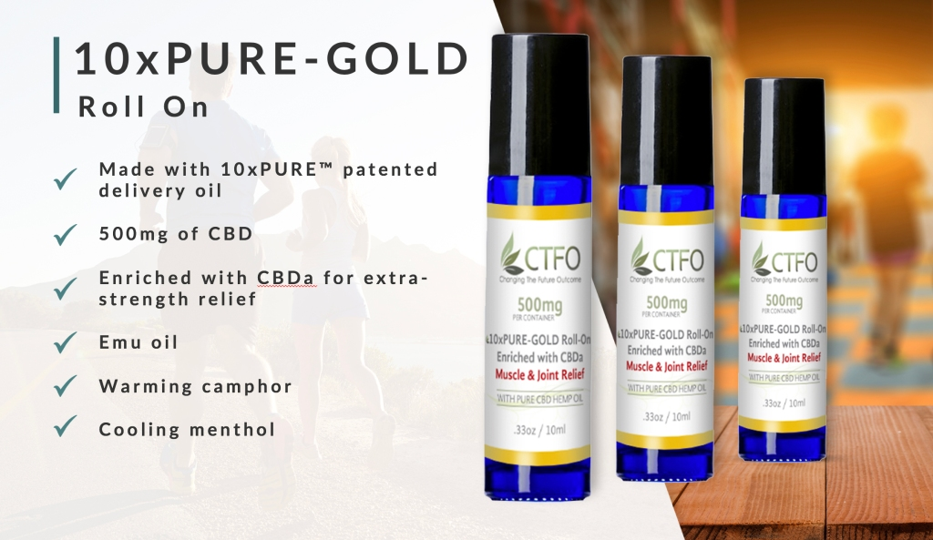 10xPURE™ Gold Roll-On Enriched with high levels of CBDa Warming Camphor Emu oil Cooling menthol 500 mg CBD/CBDa Made with our patented 10xPureTM delivery system